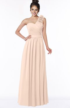 ColsBM Elisa Peach Puree Simple A-line One Shoulder Half Backless Chiffon Flower Bridesmaid Dresses