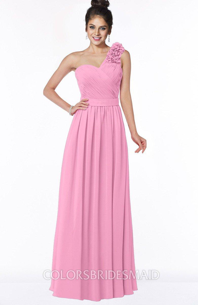 Elisa Pink Simple A-line One Shoulder Half Backless Chiffon Flower Bridesmaid Dress
