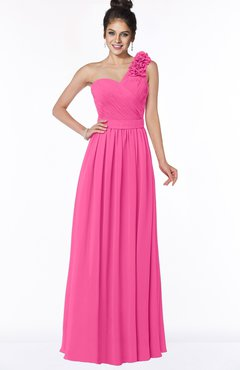 ColsBM Elisa Rose Pink Simple A-line One Shoulder Half Backless Chiffon Flower Bridesmaid Dresses