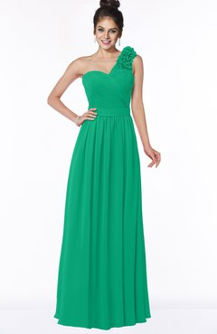 ColsBM Elisa Sea Green Simple A-line One Shoulder Half Backless Chiffon Flower Bridesmaid Dresses