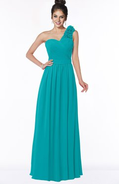 ColsBM Elisa Teal Simple A-line One Shoulder Half Backless Chiffon Flower Bridesmaid Dresses