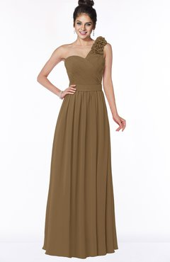 ColsBM Elisa Truffle Simple A-line One Shoulder Half Backless Chiffon Flower Bridesmaid Dresses