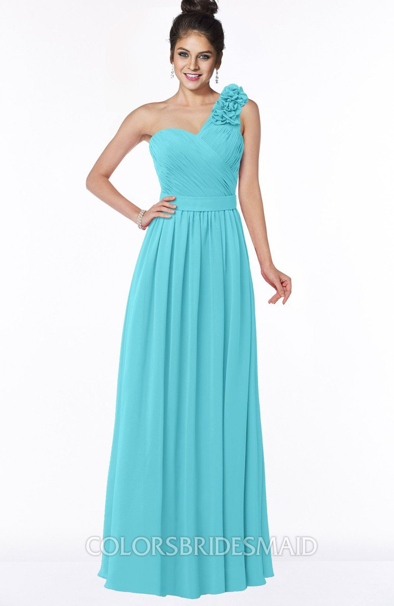 Turquoise simple a line one shoulder half backless chiffon flower simple a line one shoulder half backless chiffon flower bridesmaid dresses ombrellifo Image collections