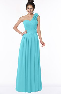 Colsbm Elisa Turquoise Simple A Line One Shoulder Half Backless Chiffon Flower Bridesmaid Dresses