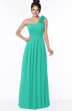 ColsBM Elisa Viridian Green Simple A-line One Shoulder Half Backless Chiffon Flower Bridesmaid Dresses