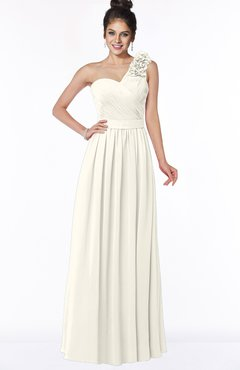 ColsBM Elisa Whisper White Simple A-line One Shoulder Half Backless Chiffon Flower Bridesmaid Dresses