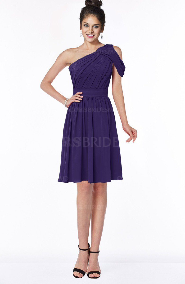 Royal purple elegant one shoulder sleeveless zip up chiffon elegant one shoulder sleeveless zip up chiffon ruching bridesmaid dresses ombrellifo Gallery