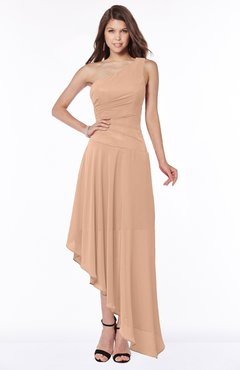 ColsBM Maggie Almost Apricot Luxury A-line Zip up Chiffon Floor Length Ruching Bridesmaid Dresses
