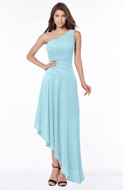 ColsBM Maggie Aqua Luxury A-line Zip up Chiffon Floor Length Ruching Bridesmaid Dresses