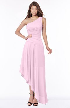 ColsBM Maggie Baby Pink Luxury A-line Zip up Chiffon Floor Length Ruching Bridesmaid Dresses