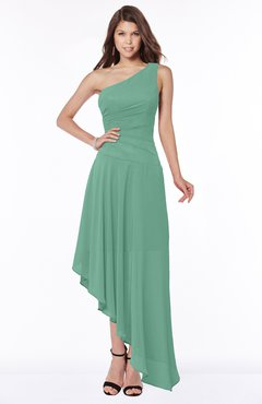 ColsBM Maggie Beryl Green Luxury A-line Zip up Chiffon Floor Length Ruching Bridesmaid Dresses