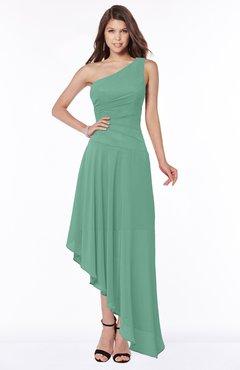 ColsBM Maggie Beryl Green Luxury A-line Zip up Chiffon Floor Length Ruching Bridesmaid Dresses
