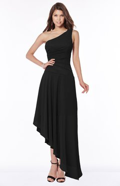 ColsBM Maggie Black Luxury A-line Zip up Chiffon Floor Length Ruching Bridesmaid Dresses