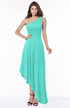 ColsBM Maggie Blue Turquoise Luxury A-line Zip up Chiffon Floor Length Ruching Bridesmaid Dresses