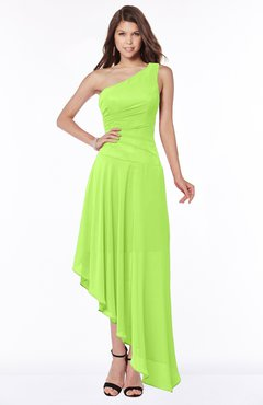 ColsBM Maggie Bright Green Luxury A-line Zip up Chiffon Floor Length Ruching Bridesmaid Dresses