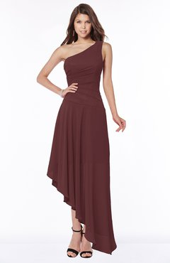 ColsBM Maggie Burgundy Luxury A-line Zip up Chiffon Floor Length Ruching Bridesmaid Dresses