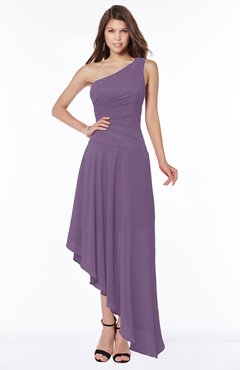 ColsBM Maggie Chinese Violet Luxury A-line Zip up Chiffon Floor Length Ruching Bridesmaid Dresses