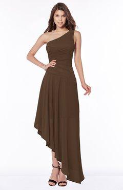 ColsBM Maggie Chocolate Brown Luxury A-line Zip up Chiffon Floor Length Ruching Bridesmaid Dresses
