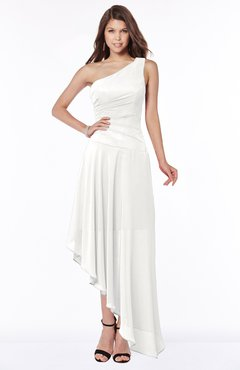 ColsBM Maggie Cloud White Luxury A-line Zip up Chiffon Floor Length Ruching Bridesmaid Dresses
