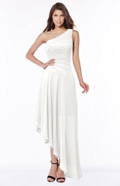ColsBM Maggie Cloud White Luxury A-line Zip up Chiffon Floor Length Ruching Bridesmaid Dresses