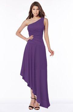 ColsBM Maggie Dark Purple Luxury A-line Zip up Chiffon Floor Length Ruching Bridesmaid Dresses