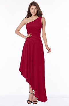 ColsBM Maggie Dark Red Luxury A-line Zip up Chiffon Floor Length Ruching Bridesmaid Dresses