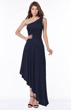 ColsBM Maggie Dark Sapphire Luxury A-line Zip up Chiffon Floor Length Ruching Bridesmaid Dresses