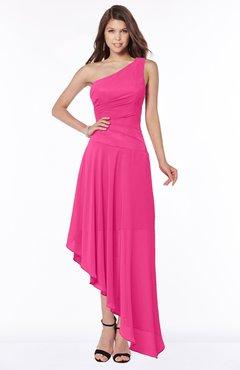 ColsBM Maggie Fandango Pink Luxury A-line Zip up Chiffon Floor Length Ruching Bridesmaid Dresses