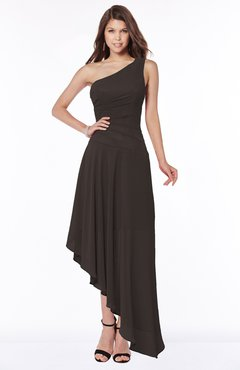 ColsBM Maggie Fudge Brown Luxury A-line Zip up Chiffon Floor Length Ruching Bridesmaid Dresses