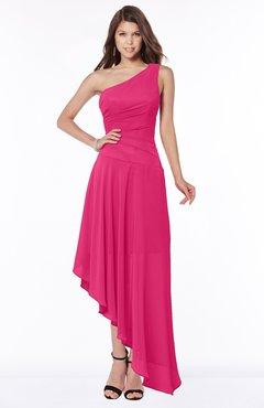 ColsBM Maggie Fuschia Luxury A-line Zip up Chiffon Floor Length Ruching Bridesmaid Dresses