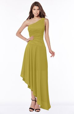 ColsBM Maggie Golden Olive Luxury A-line Zip up Chiffon Floor Length Ruching Bridesmaid Dresses