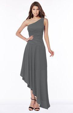 ColsBM Maggie Grey Luxury A-line Zip up Chiffon Floor Length Ruching Bridesmaid Dresses