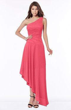 ColsBM Maggie Guava Luxury A-line Zip up Chiffon Floor Length Ruching Bridesmaid Dresses