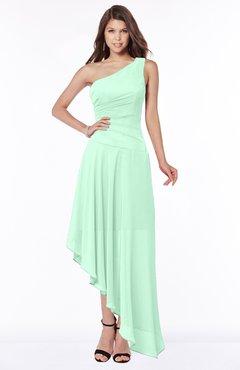 ColsBM Maggie Honeydew Luxury A-line Zip up Chiffon Floor Length Ruching Bridesmaid Dresses