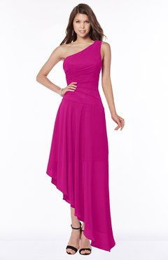 ColsBM Maggie Hot Pink Luxury A-line Zip up Chiffon Floor Length Ruching Bridesmaid Dresses