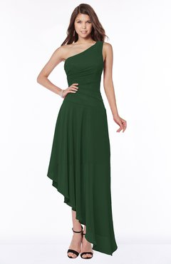 ColsBM Maggie Hunter Green Luxury A-line Zip up Chiffon Floor Length Ruching Bridesmaid Dresses