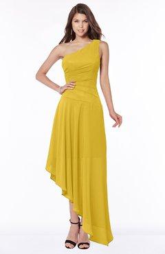 ColsBM Maggie Lemon Curry Luxury A-line Zip up Chiffon Floor Length Ruching Bridesmaid Dresses