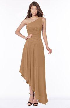 ColsBM Maggie Light Brown Luxury A-line Zip up Chiffon Floor Length Ruching Bridesmaid Dresses