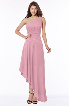 ColsBM Maggie Light Coral Luxury A-line Zip up Chiffon Floor Length Ruching Bridesmaid Dresses