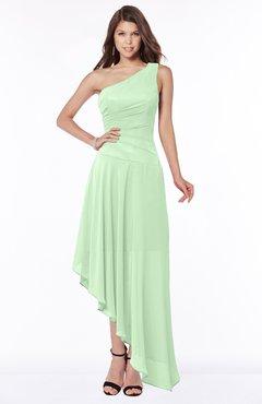 ColsBM Maggie Light Green Luxury A-line Zip up Chiffon Floor Length Ruching Bridesmaid Dresses