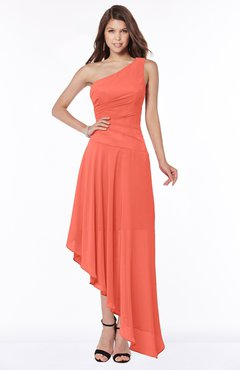 ColsBM Maggie Living Coral Luxury A-line Zip up Chiffon Floor Length Ruching Bridesmaid Dresses