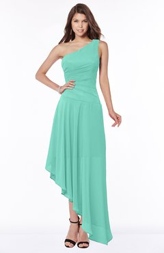 ColsBM Maggie Mint Green Luxury A-line Zip up Chiffon Floor Length Ruching Bridesmaid Dresses