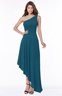 ColsBM Maggie Moroccan Blue Luxury A-line Zip up Chiffon Floor Length Ruching Bridesmaid Dresses