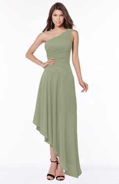 ColsBM Maggie Moss Green Luxury A-line Zip up Chiffon Floor Length Ruching Bridesmaid Dresses