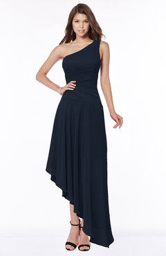ColsBM Maggie Navy Blue Luxury A-line Zip up Chiffon Floor Length Ruching Bridesmaid Dresses