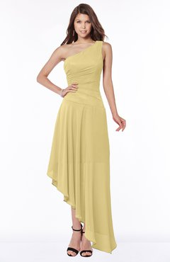 ColsBM Maggie New Wheat Luxury A-line Zip up Chiffon Floor Length Ruching Bridesmaid Dresses