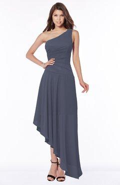 ColsBM Maggie Nightshadow Blue Luxury A-line Zip up Chiffon Floor Length Ruching Bridesmaid Dresses
