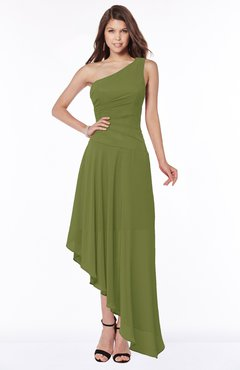 ColsBM Maggie Olive Green Luxury A-line Zip up Chiffon Floor Length Ruching Bridesmaid Dresses