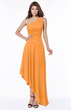 ColsBM Maggie Orange Luxury A-line Zip up Chiffon Floor Length Ruching Bridesmaid Dresses