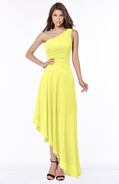 ColsBM Maggie Pale Yellow Luxury A-line Zip up Chiffon Floor Length Ruching Bridesmaid Dresses